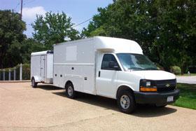 White clean up van
